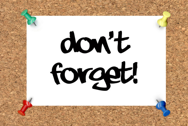 don't forget bulletin board note