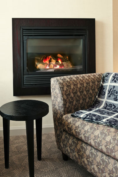 fireplace insert in a cozy living room